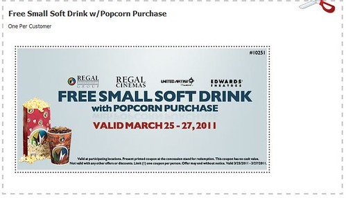 Regal Cinemas Free Small Soft Drink coupon
