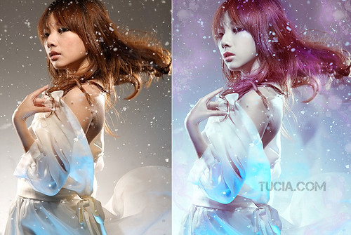 Beautiful Party Gril with Snow Petal Background