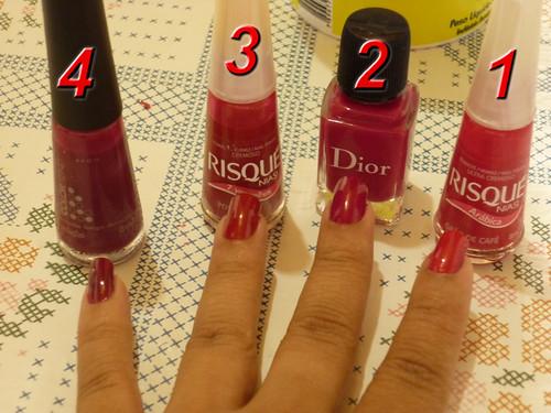 Grão Café(Risqué); Possessão Rosa(Risqué); Violet Graphique(Dior); Sedução(Avon)