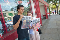 giving out Radiohead's newspaper, The Universal Sigh, at Amoeba San Francisco (Steve Rhodes) Tags: sanfrancisco california city music newspaper nikon unitedstates radiohead amoeba amoebamusic 2011 march2011 d7000 amoebasanfrancisco nikond7000 theuniversalsigh radioheadnewspaper