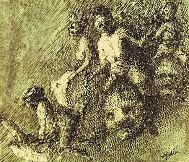 Alfred Kubin - Vier nackte Hexen