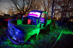 Ford Truck Night Redux (Notley) Tags: auto blue trees light red moon lightpainting tree green cars abandoned car night march automobile midwest missouri moonlight greenlight trucks junkyard autos redlight nocturne boneyard bluelight lichtmalerei americancars abandonedcars 2011 10thavenue audraincounty notley ruralphotography autosalvage ruralusa notleyhawkins pinturadeluz   missouriphotography httpwwwnotleyhawkinscom notleyhawkinsphotography mygearandme audraincountymissouri  autoboneyard