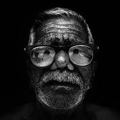 My big dad (maternal grandfather )[portrait -5] (GAURAV KANDAL) Tags: white black beard grandfather moustache specs maternal mybiggerdad