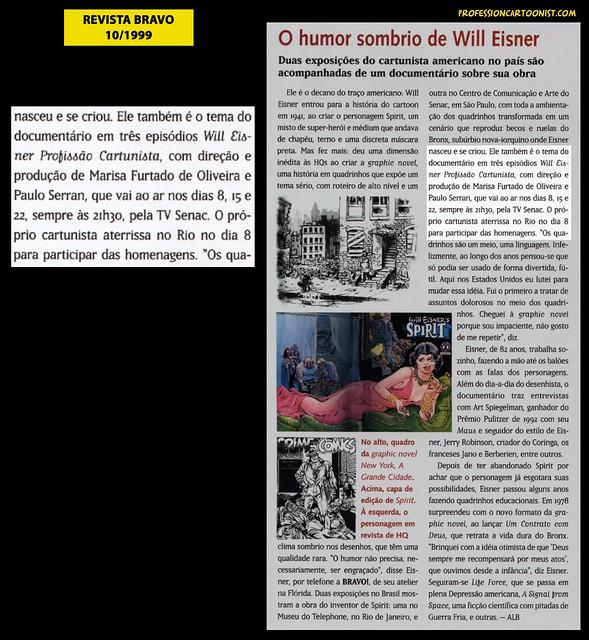 """""""O humor sombrio de Will Eisner"""" - Revista Bravo - outubro/1999"""