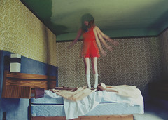 (yyellowbird) Tags: abandoned girl hotel fly jump bed bedroom cari bleh