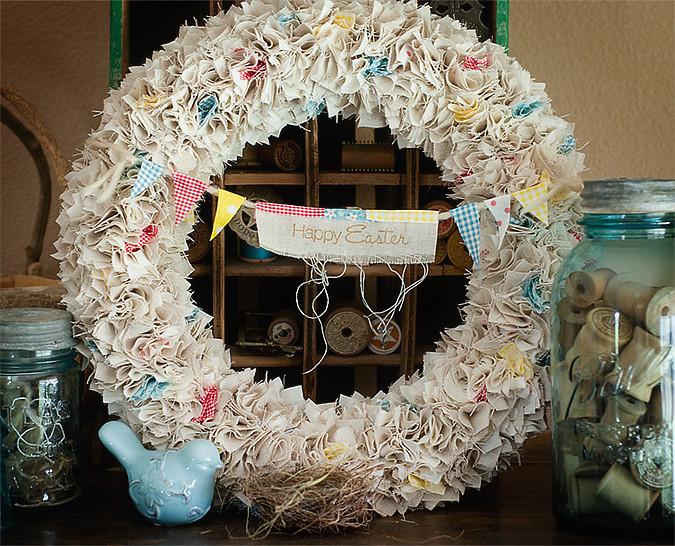 shabby fabric  wreath