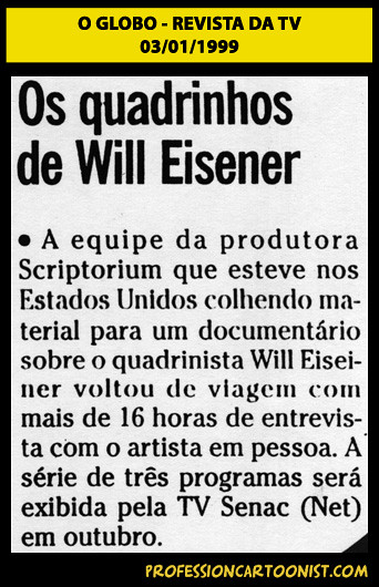 """""""Os quadrinhos de Will Eisner"""" - O Globo - 03/01/1999"""