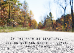 Beautiful Path (CarmaBland) Tags: road trees fall nature colors beauty typography quote path inspire gravel famousquote anotolefrance ifthepathbebeautiful