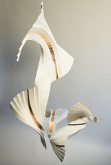 Quatre in Motion (Richard Sweeney) Tags: sculpture paper origami craft folded gilding pleated