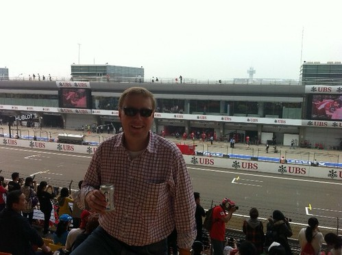 At the Shanghai Formula One free practice, loving it!