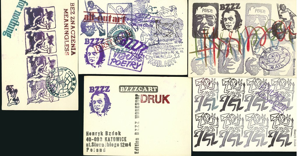 BZDOK, Henryk.  Katowice (Edition BZZZ Workshop) 1978. 10 postcards, profusely rubber stamped with original additions.