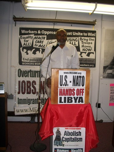 Abayomi Azikiwe, editor of the Pan-African News Wire, addressing the Detroit public meeting to oppose the US/NATO war against the North African state of Libya. The event was held on April 16, 2011. (Photo: Andrea Egypt) by Pan-African News Wire File Photos