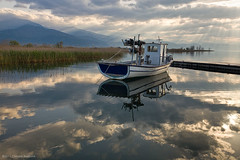 Trichonida lake, early morning (Christos Andronis) Tags: light colour colors clouds reflections landscape outdoors photography colours pastel reflexions 24105    5dmkii trichonida gettyimagesgreece1