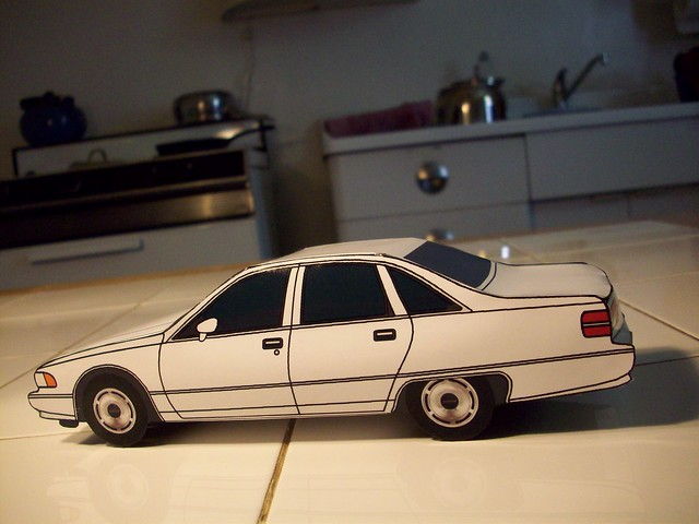 jcarwil papercraft 1992 chevy caprice sedan white 125 scale arts crafts model cars 2011