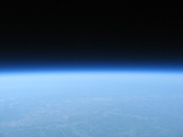 the blackness of space at 100,000 feet