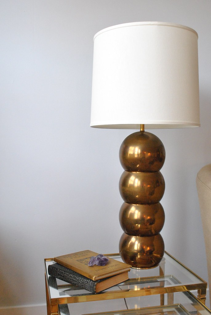 Hollywood Glam Monumental Vintage Brass Orb Lamp