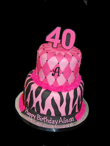 pink and black zebra and diamond patterned 40th birthday cake