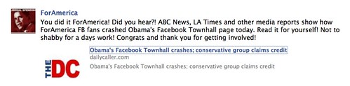 ABC News, LA Times and other media reports show how ForAmerica FB fans crashed Obama's Facebook Townhall page today.