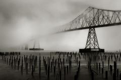 Astoria-Megler Bridge (Robert_Brown [bracketed]) Tags: 20110422 robert brown canon rebel astoria oregon or astoriamegler bridge megler columbia river clatsop county pilings absoluteblackandwhite
