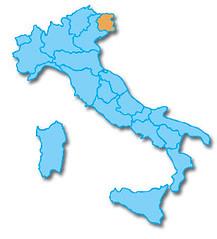 Friuli op de kaart van Italië