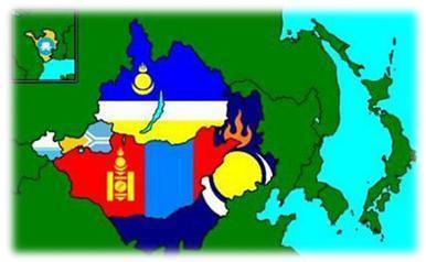 图:蒙古国,俄罗斯,哈萨克斯坦和中国境内的蒙古地区分布