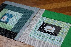 Another, with Lots of Dots (green ink) Tags: logcabin quiltblock denyseschmidt heatherross