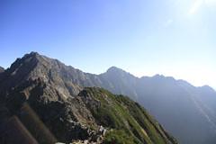西穂高岳から見た前穂高岳と吊り尾根