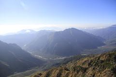 西穂高岳から見た上高地と霞沢岳