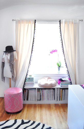 office window+bookshelf seat  under the window+curtains DIY with tassels