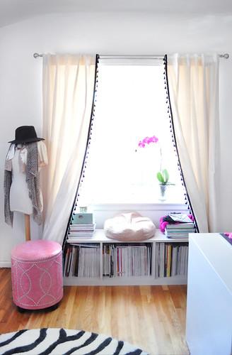 office window+bookshelf seat  under the window+curtains DIY with tassels