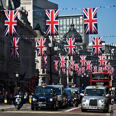 Regent Street (Joebelle) Tags: wedding london canon geotagged regentstreet flags unionjack geotag royalwedding 40d canon40d