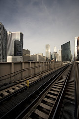 Been on a Train (Cody Stonerock) Tags: chicago color train illinois downtown skyscrapers traintracks sunny wideangle canon1022 march2011 spring2011