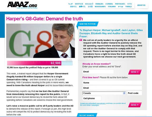 Canada election 2011 - Avaaz versus Harper