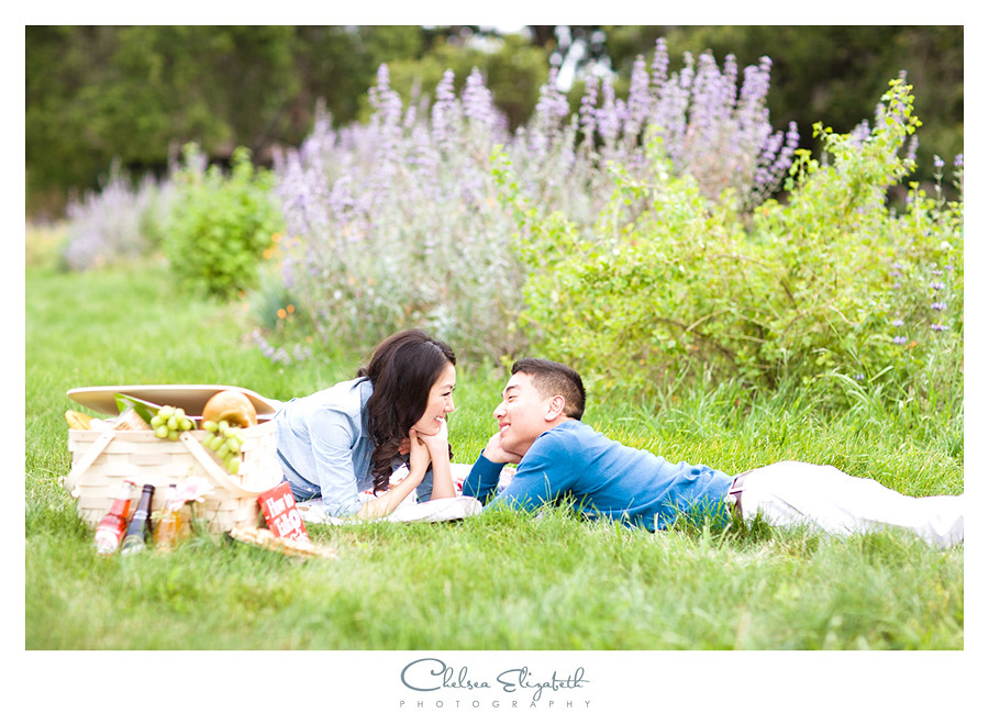 engaged couple having a picnic