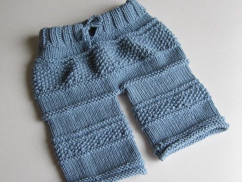 Knitted baby pants (front)