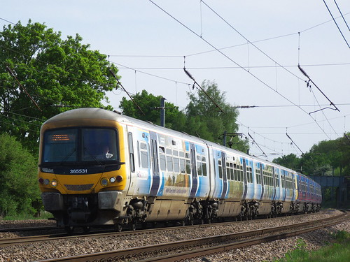 Class 365 approaches to Brookmans Park Station