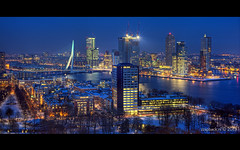 Blue Monday / Rotterdam / Euromast / Wallpaper (zzapback) Tags: blue wallpaper panorama holland netherlands dutch skyline architecture skyscraper photography 50mm rotterdam nikon blauw cityscape fotografie view f14 nederland enjoy hour hdr olanda architectuur euromast erasmusbrug thx zuidholland achtergrond uur kvz photomatix hoogbouw d700 zzapback zzapbacknl robdevoogd bureuablad