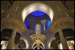 chandelier & dome (h a t h i w a l a) Tags: white black architecture night gold golden nikon arch islam uae pillar grand mosque carving palm chandelier dome marble abu dhabi d90 premal hathiwala 1012260263