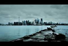 Isolated (echopictures) Tags: city lake toronto ontario canada tower water skyline clouds cn canon dark landscape island rebel dangerous waves gloomy 1855mm raining hdr isolated wards 500d photomatix t1i