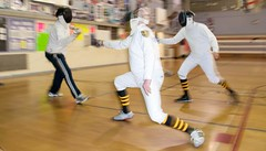 2 on 2 Epee Fencing (SQKnSEA) Tags: seattle sports washington fencing recreation gym epee longshot infocus fourpeople communitycenter highquality fdl twofaces 2v2 2on2