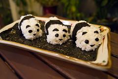 Panda Sushi (Kokkai Ng) Tags: wood food white black seaweed cute art dinner sushi children table asian fun japanese three asia panda dish rice bokeh handmade balcony sticky creative plate eat homemade sheet pandas nori japaneserice shortgrain