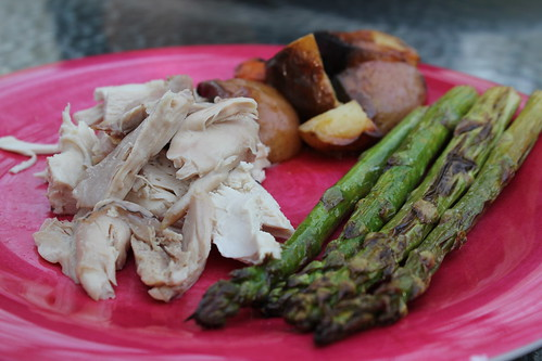 Roast chicken, ptoatoes and carrots, and asparagus
