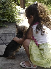 A little girl - A small dog (dimitra_milaiou) Tags: life friends shadow 2 summer two people dog pet love girl animal hair island greek one 1 europe village child small hellas happiness greece summertime emotions andros cyclades katerina dimitra livadia         androslivadia milaiou