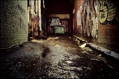 peace in the alley (mugley) Tags: city longexposure urban brick film wet water rain night buildings dark graffiti bucket alley fuji minolta australia melbourne slide tags victoria scan bin doorway chrome lane transparency rubbish epson pointandshoot cbd konica positive walls gutter asphalt mop e6 bitumen urbanlandscape sensia wheeliebin sensia100 v700 fujisensiaii100ra trashclam forgetwhichlane freedomzoom160 rivazoom160 minoltafreedomzoom160