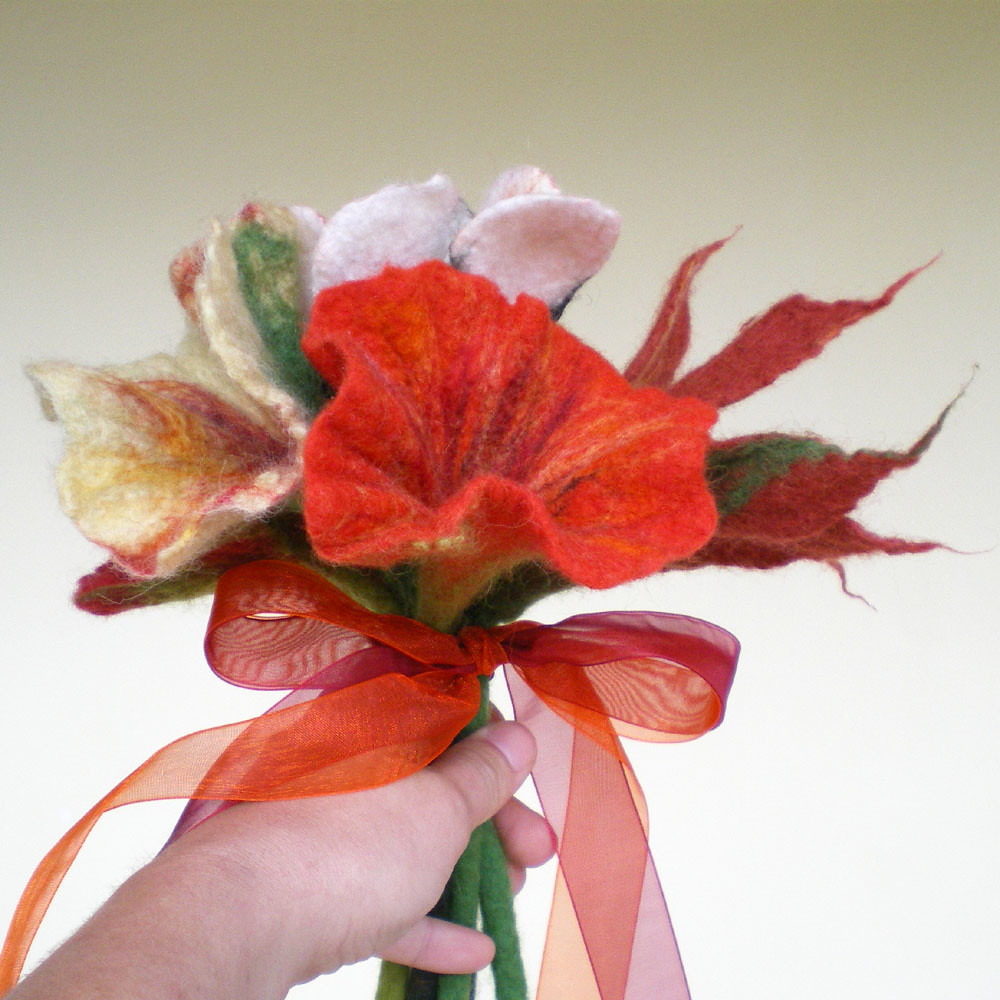 felted flower bouquet -unique moments- made to order 2