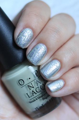 OPI Stranger Tides with OPI Silver Shatter