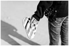 flip flops, nikon d80, beach (-issata) Tags: shadow blackandwhite selfportrait black beach nikon hand jeans flipflops sweatshirt hold necessities coronadoisland colinstuart melissata nikond700 nikkor85mmf14g