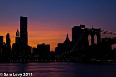 Skyline and Brooklyn Bridge at Sunset (Sam.Levy) Tags: newyorkcity sunset usa newyork skyline brooklyn night bridges brooklynbridge