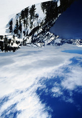 god's view (Xuan Che) Tags: travel blue summer sky white mountain lake snow color film water june clouds oregon forest photoshop landscape fun volcano nationalpark azure slide scan alpine crater cascades m42 pacificnorthwest fujifilm craterlake flektogon 20mm 2011 carlzeissjena velviarvp 2820mm voigtlanderbessaflex