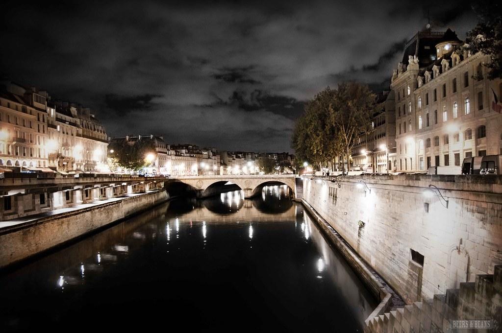 Paris At Night - Dark and Stormy Seine